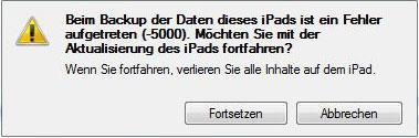 Ipadfehler-5000 in Fehler bei iOS Update - Problemlösung